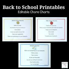 Editable Bedtime Routine Chart Back To School Printables Editable Chore Charts Jdaniel4s Mom