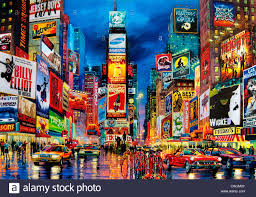 painting times square broadway new york city theater al