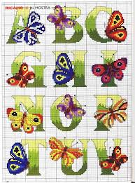 Butterfly Alphabet Chart Cross Stitch More Butterfly Alphabet Part 1 Color Chart