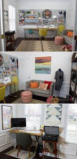 Love the hexagon honeycomb shelf and the pegboard and comfy couch area.  creative home office. Sewing RoomsSewing ...