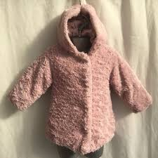 baby girls dusky pink faux fur hooded coat jacket age 12 18 months