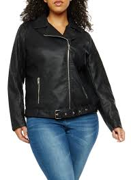 plus size signal lost graphic faux leather moto jacket black large