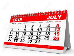 Calendar July 2015 On White Background 3d Illustration Stock Photo
