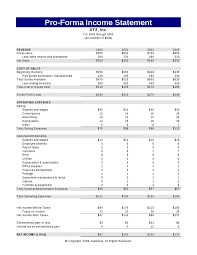 financial statement format pro forma financial statement template pro forma income statement