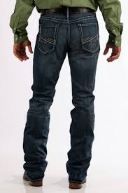 Cinch Mens Ian Dark Stonewash Slim Fit Mid Rise Bootcut Jeans