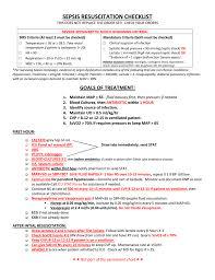 Sepsis Resuscitation Nurses Worksheet