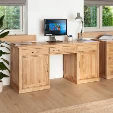 mobel oak hidden twin. Mobel Oak Large Hidden Office Twin Pedestal Desk - Wooden Furniture Store L