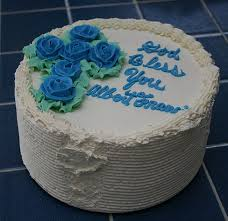 Simple Baptism Cake For Boy With Blue Floral Cross Shape Cake Decor