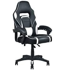 leather swivel office chair. Giantex Modern Executive Racing Style Gaming Chair High Back Recliner PU Leather Swivel Office Chairs HW56246WH B