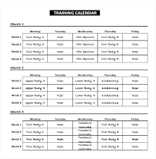 Sample Workout Calendar Simple Training And Education Implementation Schedule Template Word Format