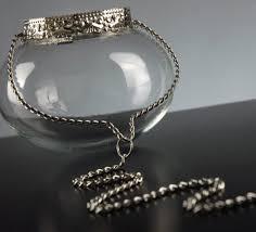 Hanging Tea Light Holder Silver & Glass