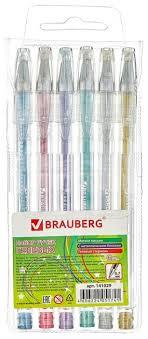 BRAUBERG <b>набор гелевых ручек</b> Jet 6 цветов (141029) — купить ...