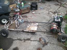 picture of electric go kart from old trash on a budget