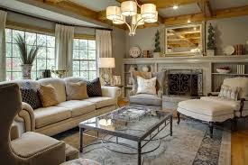 ... Awesome Traditional Home Decor With Brick Fireplace And Sofa Cushions  And Gray With A ...