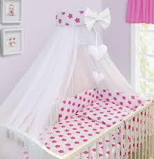 cot bedding set 10 pcs pink stars on