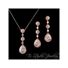 gold teardrop cz bridal chandelier earrings matching necklace