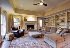 best family room decorating ideas traditional of beautiful leopard rug in family room traditional with tray ceilings
