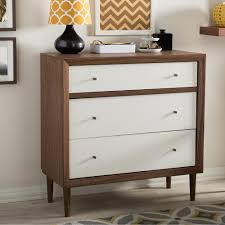 3 drawer wood dresser. Simple Dresser Baxton Studio Harlow 3Drawer White And Medium Brown Wood Chest For 3 Drawer Dresser E