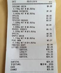 Grocery Receipt Sunny Money