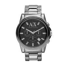 men s swarovski crystal watches h samuel armani exchange men s stainless steel strap watch product number 1021346