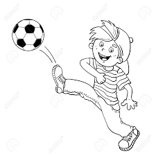 Small Picture Coloring Page Outline Of A Cartoon Boy Kicking A Soccer Ball