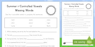 Statistics Worksheet Beauteous Summer RControlled Vowels Worksheet Activity Sheet Summer