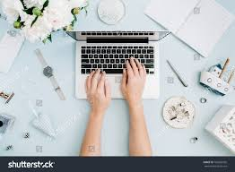 office furniture women. Flat Lay Home Office Desk. Women Workspace With Female Hands, Laptop, White Peony Furniture A
