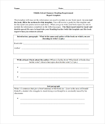 Book Report Templates Middle School Sample Middle School Book Report Documents In Pdf Word