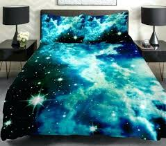 green galaxy bedding blue cloud space duvet cover popular bedding set queen full single turquoise duvet