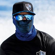 Best Face Shield Hunting Neck Gaiter Navy Blue Skull Sa Team