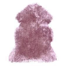 purple faux fur rug u s sheepskin rug single pelt mauve pink ultimate intended for decor