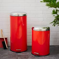 metal step trash can red west elm classic kitchen garbage pleasing 8