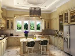 french country antique white kitchen cabinet with capivating chandelier design