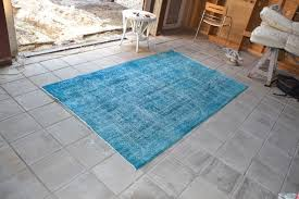 re coloured over dyed vintage rug 146 x 248 cm