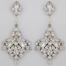 large fan drop bridal chandelier earrings