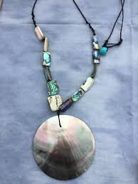 home necklaces beautiful paua shell beaded and round pendant