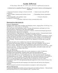 Property Management Job Description For Resume Regional Property