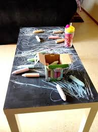 pick up an old coffee table and paint with chalkboard paint