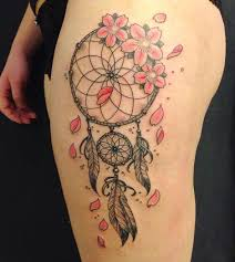 Dream Catcher Tattoo For Girl New 32 Stunningly Dreamcatcher Tattoo On Thigh