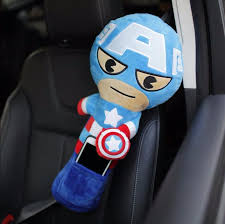 baby kids cartoon iron man spiderman seat belt cover shoulder toy pillow children car safe belt