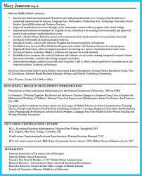 Middle School Principal Resume Resume Cover Letter Template