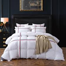 tutubird duck goose down quilted comforter duvet blanket white striped winter warm quilt with 100 cotton cover twin queen king king size quilts and