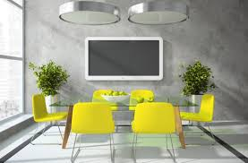 yellow chairs for grey dining room design with gl top table and metal overhead l