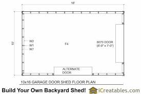 10x16 shed with garage door floor plan