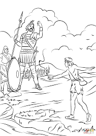 Small Picture David And Goliath Fighting Coloring Page And Coloring Page itgodme