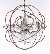 6 light crystal orb chandelier with wrought iron finish