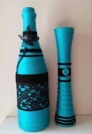 Yarn Bottle Set, Spring home decor, Yarn Art, flower vase, desk accessory