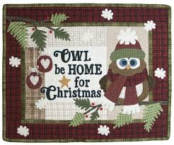 Q02 Quilt Signs Owl be Home for Christmas &  Adamdwight.com