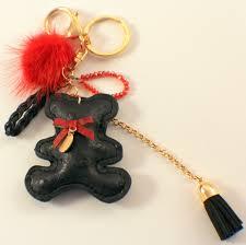 vegan leather teddy bear key chain fob purse phone charm tassel drop black dragonfly whispers