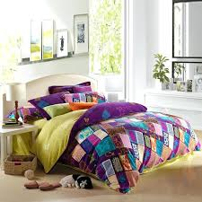 purple teal bedding purple teal and pink yellow bohemian chic tribal style patchwork plaid and jungle